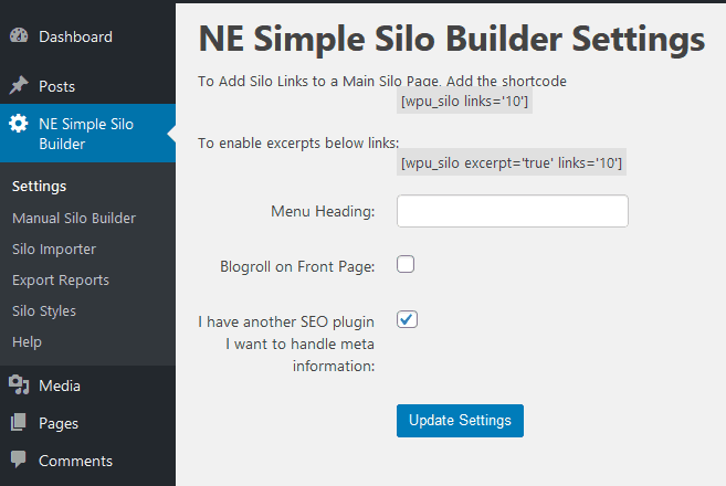 Website Silo Architecture wordpress plugin - WP Simple Silo Website builder settings page